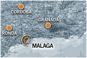 Map of motorcycle rental in Malaga